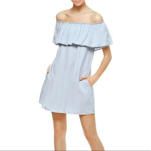 Sanctuary | Chambray Ruffle Off-the-Shoulder